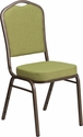 HERCULES Series Crown Back Stacking Banquet Chair with Moss Fabric and 2.5'' Thick Seat - Gold Vein Frame [FD-C01-GV-8-GG]