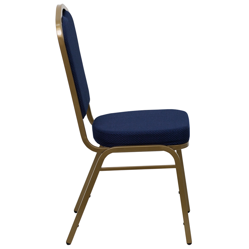 HERCULES Series Crown Back Stacking Banquet Chair With Navy Blue Patterned Fa