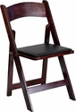 HERCULES Series Mahogany Wood Folding Chair with Vinyl Padded Seat [SZ-8805-MAH-WOOD-GG]