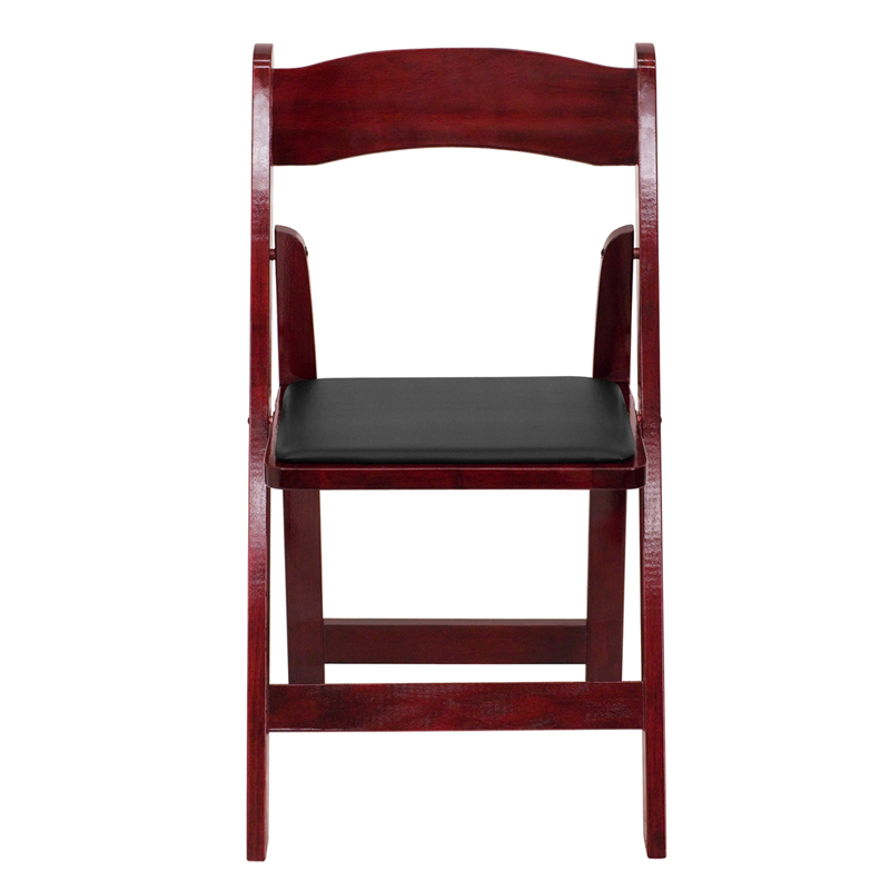 HERCULES Series Mahogany Wood Folding Chair With Vinyl Padded Seat XF 2903 M