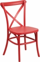 HERCULES Series Red Resin Indoor-Outdoor Cross Back Chair with Steel Inner Leg [LE-9-RD-GG]
