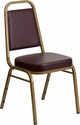 HERCULES Series Trapezoidal Back Stacking Banquet Chair with Brown Vinyl and 2.5'' Thick Seat - Gold Frame [FD-BHF-1-ALLGOLD-BN-GG]