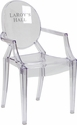 Personalized Ghost Chair with Arms in Transparent Crystal [FH-124-APC-CLR-EMB-VYL-GG]