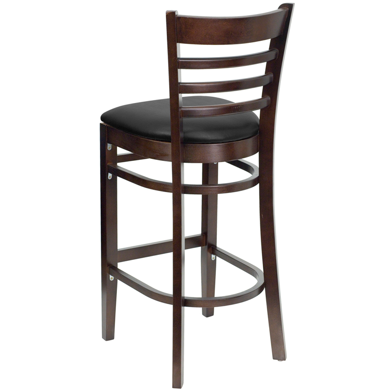 Walnut Finished Ladder Back Wooden Restaurant Bar Stool  : walnut finished ladder back wooden restaurant bar stool with black vinyl seat bfdh 8241wbk bar tdr 25 from www.bestchiavarichairs.com size 800 x 800 jpeg 148kB