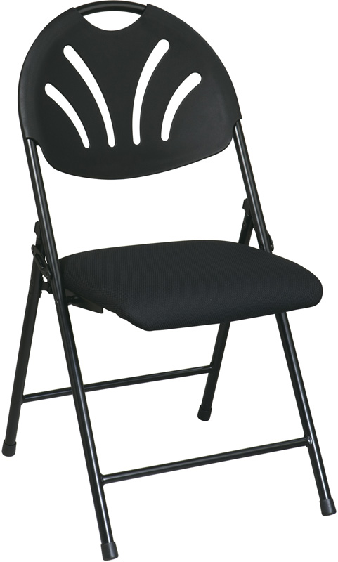 Work Smart Plastic Folding Chair with Fan Back and Padded Mesh Seat Set of