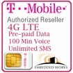 1GB Monthly 4G LTE/  (Unlimited SMS per month and 100 Minutes Voice) Pre-Paid for 12 Month on T-Mobile (USA)