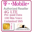 1GB Monthly 4G LTE (Unlimited SMS per month and 100 Minutes Voice) Pre-Paid for 12 Month on T-Mobile (USA)