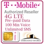 1GB Monthly 4G LTE (Unlimited SMS and 100 Minutes Voice) Pre-Paid for 3 Months on T-Mobile (USA)