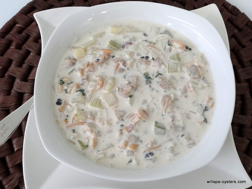 "Manila and Razor Clam Chowder <br><Font Face= ""Times New Roman, Times, Serif""COLOR=#0101DF  SIZE=4><b>Gluten-free</b></font>"