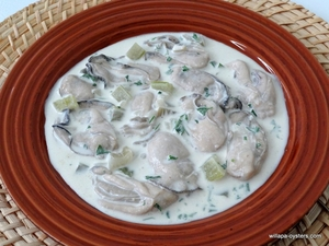 "Willapa Oyster Stew <br><Font Face= ""Times New Roman, Times, Serif""COLOR=#0101DF  SIZE=4><b>Gluten-free</b></font>"