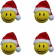 4 PACK Antenna Topper Set - Christmas Stocking Hat Smiley Faces
