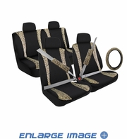 Auto Accessories Interior Combo Kit Gift Set - 13pc - Animal Print - Tan Leopard
