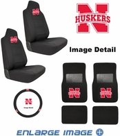 Auto Accessories Interior Combo Kit Gift Set - 7pc - UN University of Nebraska Cornhuskers