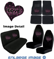 Auto Accessories Interior Combo Kit Gift Set - 8pc - Crystal Studded Rhinestone Bling - Hearts Love - Pink
