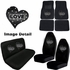 Auto Accessories Interior Combo Kit Gift Set - 8pc - Crystal Studded Rhinestone Bling - Hearts Love - White