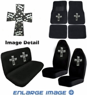 Auto Accessories Interior Combo Kit Gift Set - 8pc - Crystal Studded Rhinestone Bling - High Cross - White