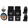 Auto Accessories Interior Combo Kit Gift Set - 8pc - Superman DC Comics Silver Shield