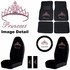 Auto Accessories Interior Combo Kit Gift Set - 9pc - Crystal Studded Rhinestone Bling - Pink Princess w/ Cute Crown