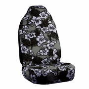Black Charcoal Hawaiian Flower Print Seat Covers