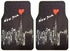Front and Rear Seat Carpet Floor Mats - Car Truck SUV - New York Sky Line Heart