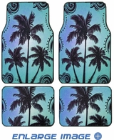Front and Rear Seat Carpet Floor Mats - Car Truck SUV - Palm Trees - Blue