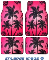 Front and Rear Seat Carpet Floor Mats - Car Truck SUV - Palm Trees - Pink