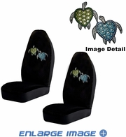 Front Bucket Seat Covers - Crystal Studded Rhinestone Bling - Car Truck SUV - Blue and Green Turtles with Stars and Hearts - pair