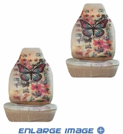 Front Car Truck SUV Bucket Seat Covers - Big Butterfly with Multiple Colorful Butterflies - pair