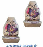 Front Car Truck SUV Bucket Seat Covers - Big Purple Butterfly - pair