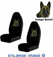 Front Car Truck SUV Bucket Seat Covers - Crystal Studded Rhinestone Bling - German Shepherd