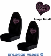 Front Car Truck SUV Bucket Seat Covers - Crystal Studded Rhinestone Bling - Hearts Love - Pink