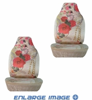 Front Car Truck SUV Bucket Seat Covers - Flowers - Red Roses with Pearls and Lipstick - pair