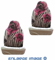Front Car Truck SUV Bucket Seat Covers - Flowers - Zebra Print - Pink Flower - pair