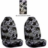 Front Car Truck SUV Universal-fit Bucket Seat Covers - Hawaiian Hibiscus Flowers - Black Charcoal - pair