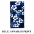 Front Car Truck SUV Universal-fit Bucket Seat Covers, Steering Wheel Cover and Seat Belt Pads - 5 Pc Set - Hawaiian Hibiscus Flower Print - Blue