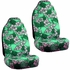 Front Car Truck SUV Universal-fit Bucket Seat Covers, Scrunchy Steering Wheel Cover and Seat Belt Pads - 5 Pc Set - Hawaiian Hibiscus Flower Print - Green