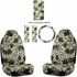 Front Car Truck SUV Universal-fit Bucket Seat Covers, Steering Wheel Cover and Seat Belt Pads - 5 Pc Set - Hawaiian Hibiscus Flower Print - Grey