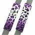 Front Car Truck SUV Universal-fit Bucket Seat Covers, Steering Wheel Cover and Seat Belt Pads - 5 Pc Set - Animal Print - Leopard - Purple