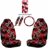 Front Car Truck SUV Universal-fit Bucket Seat Covers, Steering Wheel Cover and Seat Belt Pads - 5 Pc Set - Hawaiian Hibiscus Flower Print - Burgundy Red