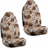 Front Car Truck SUV Universal-fit Bucket Seat Covers, Steering Wheel Cover and Seat Belt Pads - 5 Pc Set - Hawaiian Hibiscus Flower Print - Beige Tan