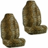 Front Car Truck SUV Universal-fit Bucket Seat Covers, Steering Wheel Cover and Seat Belt Pads - 5 Pc Set - Animal Print - Leopard - Beige Tan