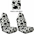Front Car Truck SUV Universal-fit Bucket Seat Covers - Animal Print - Cow - White - pair