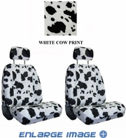 Front Car Truck SUV Low Back Bucket Seat Covers - Animal Print - Cow - White - pair