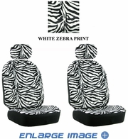 Front Car Truck SUV Low Back Bucket Seat Covers - Animal Print - Zebra - White - pair