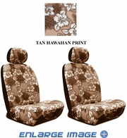 Front Car Truck SUV Low Back Bucket Seat Covers - Hawaiian Hibiscus Flowers - Beige Tan - pair