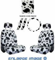 Front Car Truck SUV Low Back Bucket Seat Covers, Headrest Covers, Steering Wheel Cover and Seat Belt Pads - 7 Pc Set - Animal Print - Cow - White