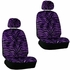 Front Car Truck SUV Low Back Bucket Seat Covers, Headrest Covers, Steering Wheel Cover and Seat Belt Pads - 7 Pc Set - Animal Print - Zebra - Purple