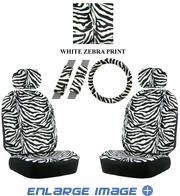 Front Car Truck SUV Low Back Bucket Seat Covers, Headrest Covers, Steering Wheel Cover and Seat Belt Pads - 7 Pc Set - Animal Print - Zebra - White