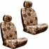 Front Car Truck SUV Low Back Bucket Seat Covers, Headrest Covers, Steering Wheel Cover and Seat Belt Pads - 7 Pc Set - Hawaiian Hibiscus Flower Print - Beige Tan