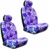 Front Car Truck SUV Low Back Bucket Seat Covers - Hawaiian Hibiscus Flowers - Purple - pair
